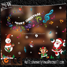 singing music transparent pvc glass snowman christmas sticker