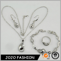 Fashion elegant classic crystal stone inlay alloy jewelry,necklace,bracelet,earrings and ring set