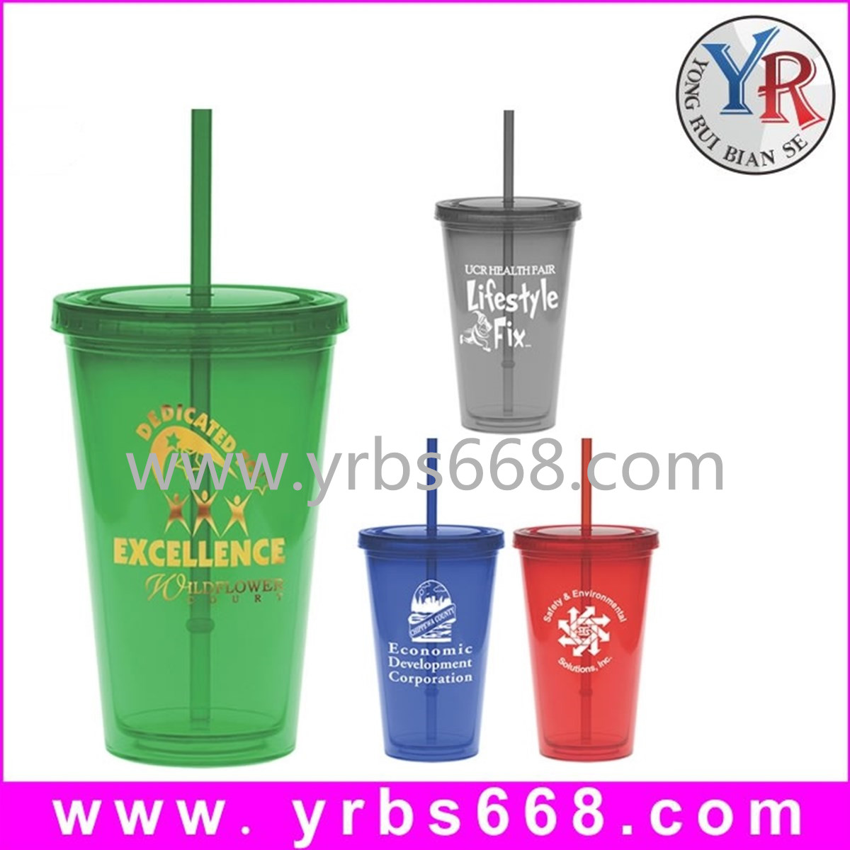 Manufacture custom plastic drink cup with straw,logo printing plastic drink cup with straw