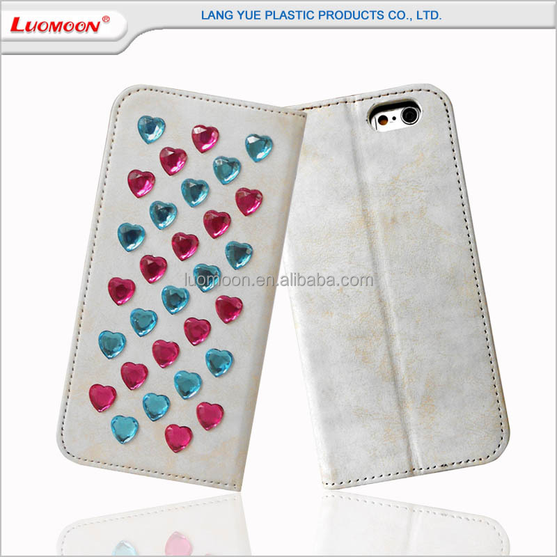Mobile Flip Phone Leather Case Cover with Heart-shaped diamond for iphone 4 4s 5 5s 5c 6 6s plus 6c se