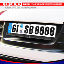 CISBO 3 in 1 European License Plate Frame Parking Sensors with HD Rear View Camera