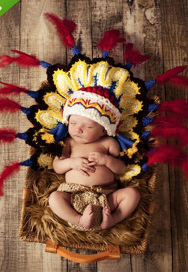 Queena Indian hat two piece set baby photography clothing
