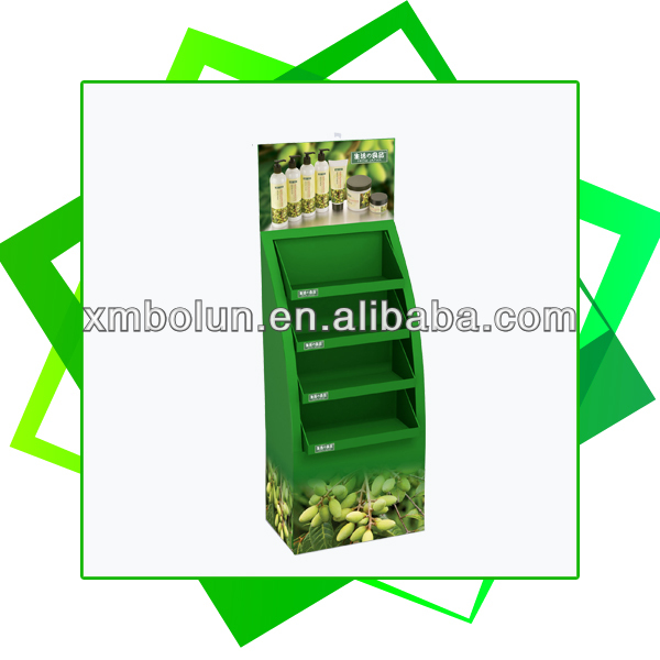 4 Tiers floor standing promotional cardboard skin care product display stand