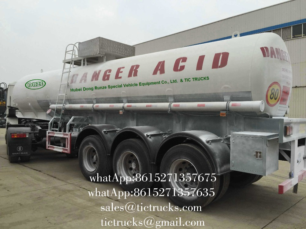 To Zamiba 3 axle 98% Sulfuric Acid Tanker Semi Trailer 19000L