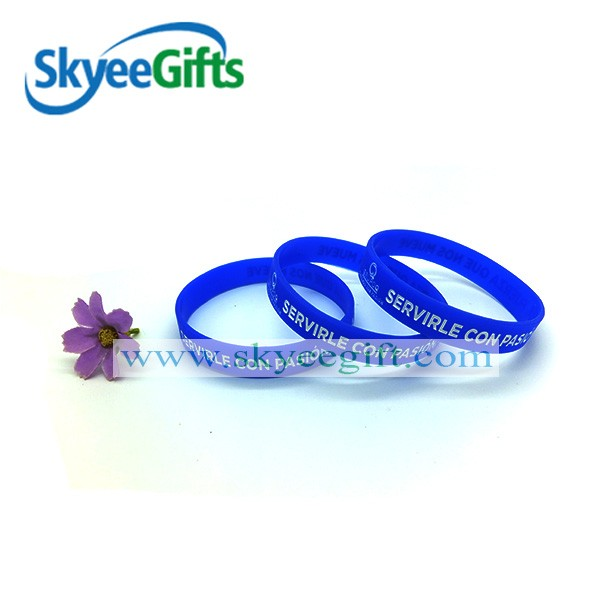 promotional cheap thin debossed color silicone wristband/wristband ink filled silicone