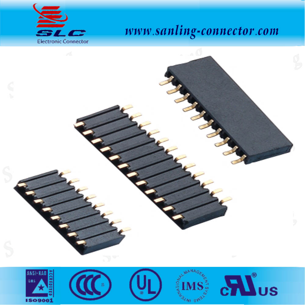 PCB Socket connector 2.54mm single row SMT side entry female pin header