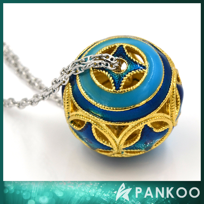 925 Sterling Silver Beautiful Gold Plated Enamel Ball Pendant