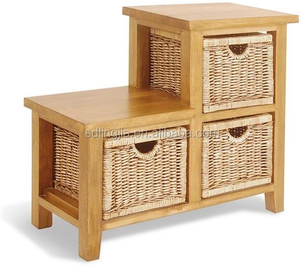 gros blanc de rangement en bois armoire de toilette avec osier panier tiroir meubles en bois id. Black Bedroom Furniture Sets. Home Design Ideas