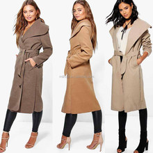 Oversized Shawl Collar Belted Ladies Latest Long Coat Design For Women