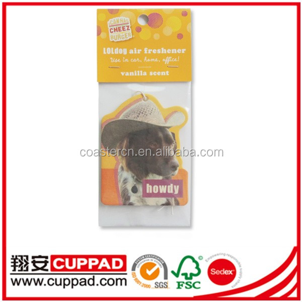 Recycle high quality car air freshener hanging paper car air freshener new car scent.