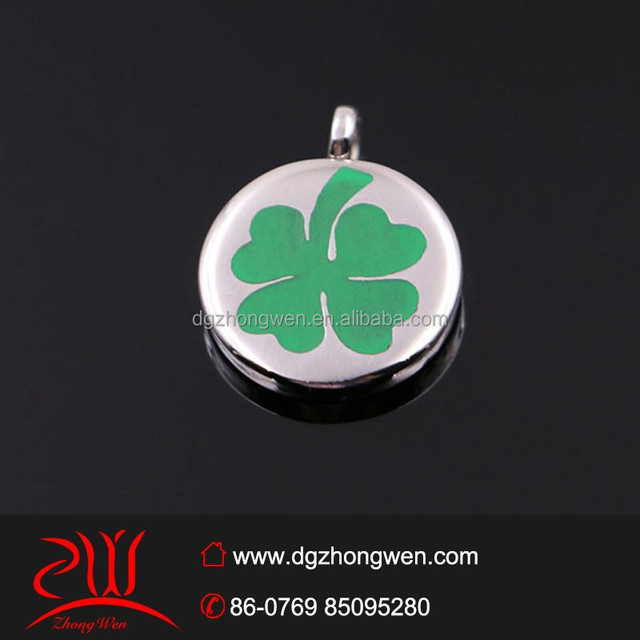 hot selling products enamel four-leaf clover pendant stianless steel coin pendant