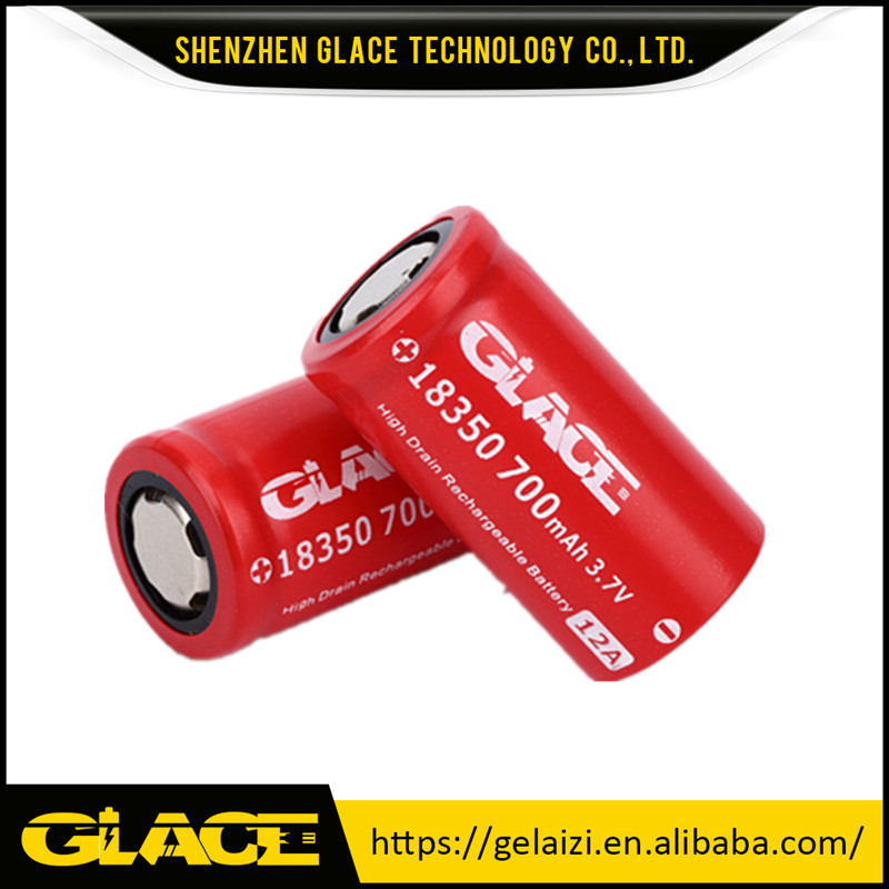 Glace 700mAh 3.7V 12A High Drain Rechargeable Li ion 18350 Battery