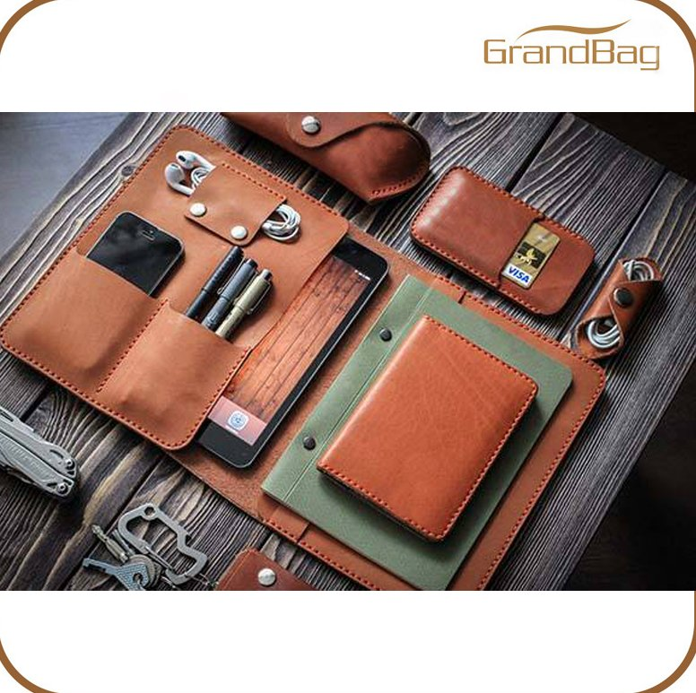 Top-quality genuine leather cover for mini ipad with headphone case pen case phone case Multi-Function hard cover for notebook