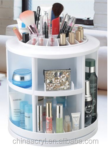White Acrylic Lipstick Round Rotation Makeup Storage Cosmetic Organizer Drawer Holder