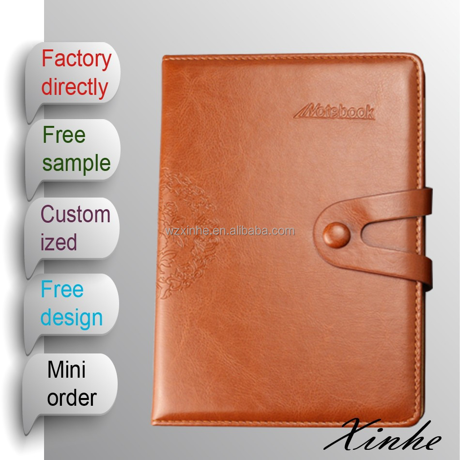 2015 A5 Luxury Leather hardbound cover diary Notebook with Botton closure