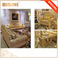 Luxury Large and Comfortable Seat Living Room Sectional Sofa and Table Set, Exquisite Carved Sofa with Fringe Decoation
