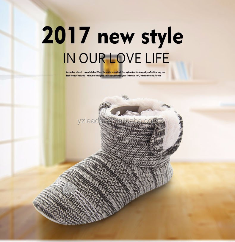 Winter Warm Bunny Knit Women Indoor Boots