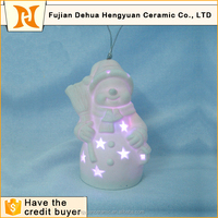 ceramic small snowman led christmas hanging decoration