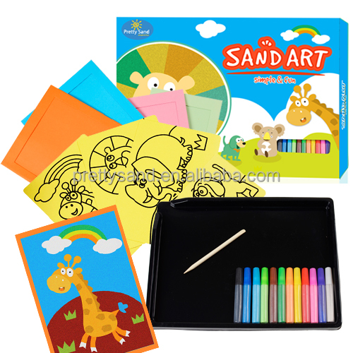 Animal Sand art pictures craft pack with 12 bottle color sand and mess-free tray good for kids craft party supplies