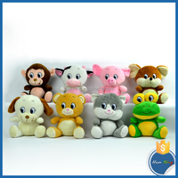 Real looking pig/monkey/mouse/cat/bear/dog/frog/ox 8 animals plush diy toy set