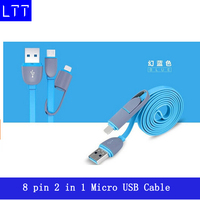 High quality Micro usb + 8pin USB 2 in 1 Sync Data Charger Cable for iPhone 5/6/plus/ipad3/4/5 for Android