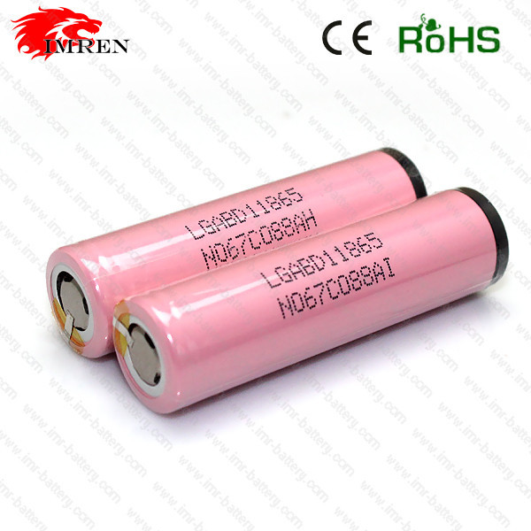 Rechargeable18650 battery e-cigarette mechanical mod protected battery LG 18650 pink battery with flat top