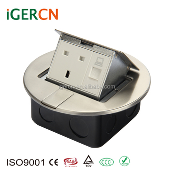 UK style stainless steel round pop- up floor socket box with RJ45 and RJ11