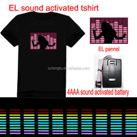 Hot sell !!! custom el t shirt/flashing el t shirt/make led t shirt