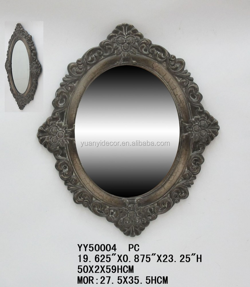 Luxury resin design wall decorative mirror, home decorative resign wall mirror in oval shaped