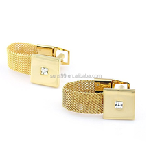 Cufflink Blanks Laser Engrave Logo Free Stainless Steel Men's Stylish Square Gold Chain Cufflinks