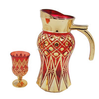 arabic glass jug and cups drinking juice water tea set