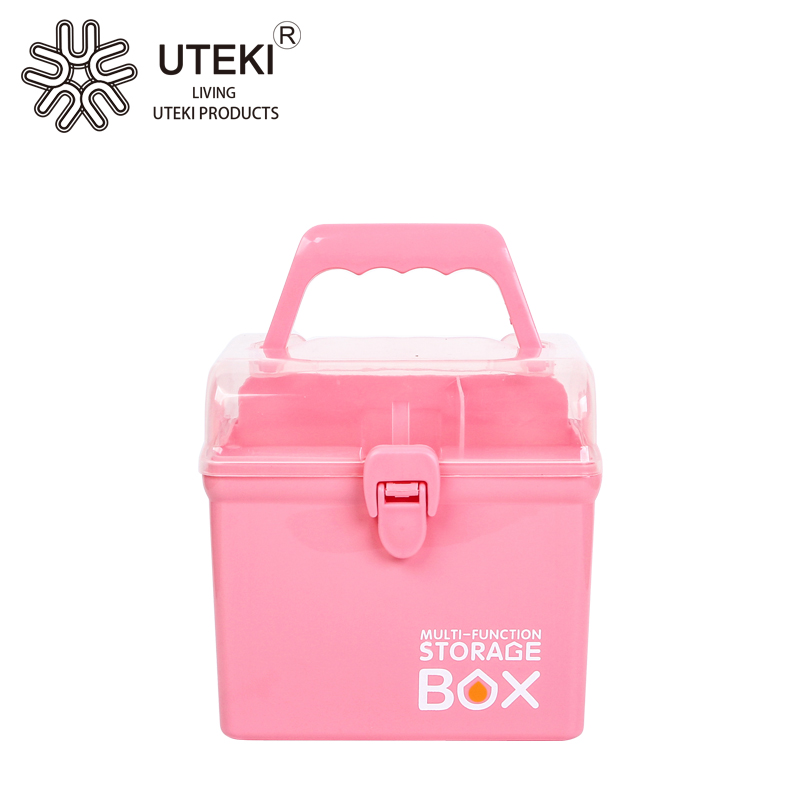 Portable plastic multipurpose makeup storage organizer tool box