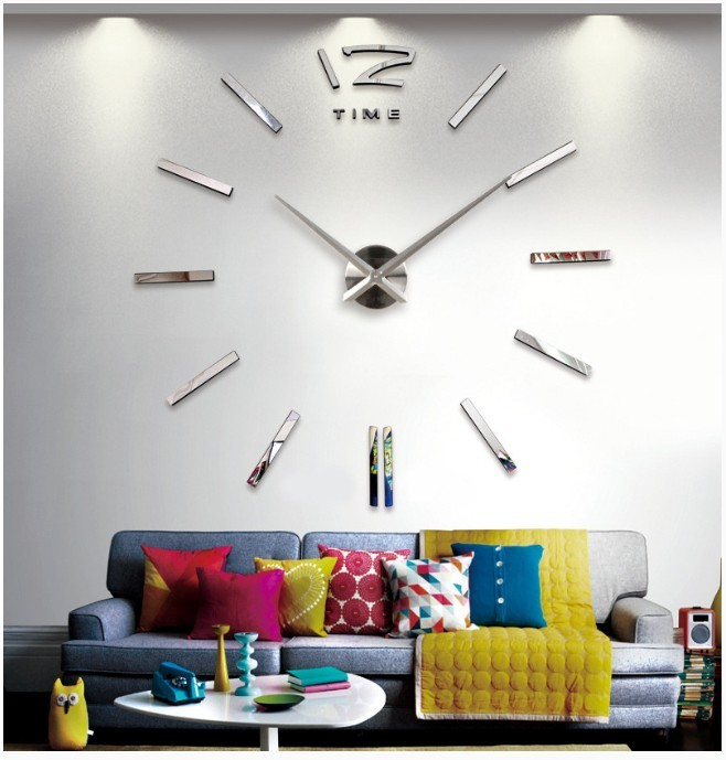 Modern Large Wall Clock 3D Mirror Surface Sticker Home Office Decor DIY Stylish Wall Clock New Product