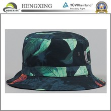 All over tropic print/black bucket hat reversible bucket hat