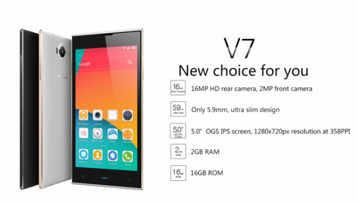Original iNew V7 5-inch HD OGS IPS Screen MTK6582 1.3GHz 2GB RAM 16GB ROM Quad-core Andriod 4.4 Smartphone 16MP Camara
