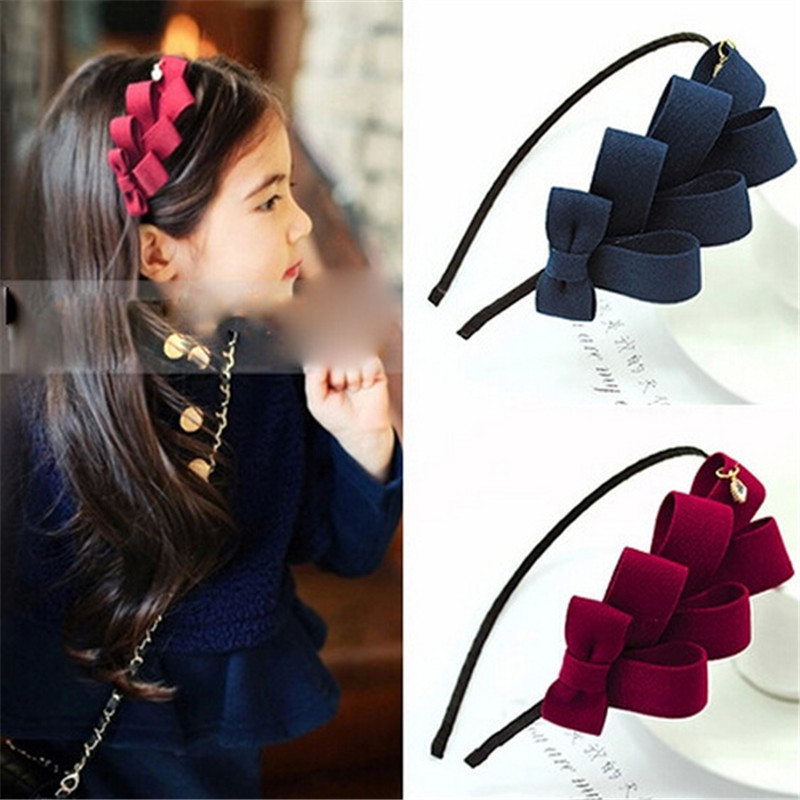 Hot sale fancy kids hair accessories children fabric style multilayer design latest cute hairband for girls AHB1016-2