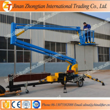 Hydraulic articulated telescopic trailer mounted cherry picker boom lifter