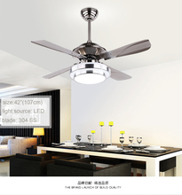 52 inch unique design high efficient iron blade ceiling fan with LED lights remote control