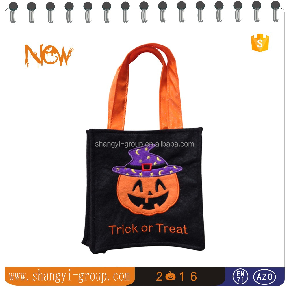 "(HW1-01)Halloween felt pumpkin ""trick or treat""bag"