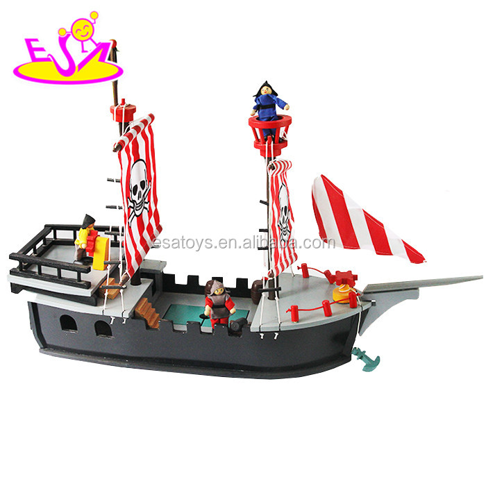 2017 Most popular boys diy wooden toy pirate ships for sale top sale kids wooden toy pirate ships for sale W03B062