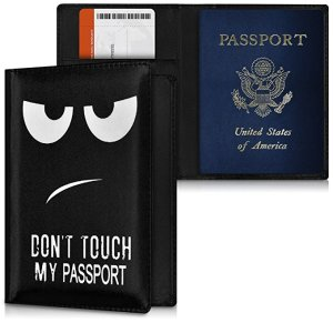 passport cover ID card cover Card wallet Credit cards Folder Leatherette Canvas material wallet in dark blue black