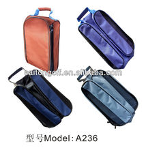 Chinese factory custom canvass colorful waterproof golf shoe bag, golf accessory A236