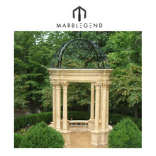 Roman Inspired Marble Gazebo with Domed Metal Roof
