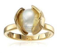 18k Yellow Gold Orchid Plain Pearl Ring