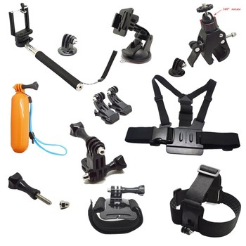 Go Pro Accessories Set Go pro Heap Strap+ Bike Mount +Chest Belt+J Hook Mount+Bobber+For Go pro hero4/3/3+/2