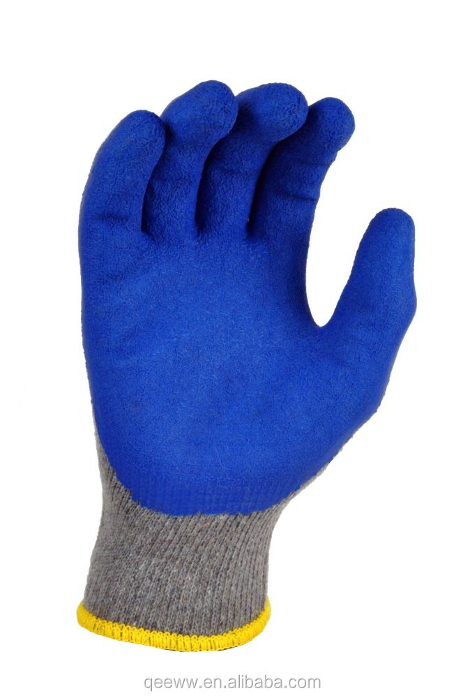 Knit Cotton Glove with Latex Double Dipped Latex Coating Working Gloves with Blue Latex Coated Gloves