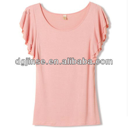 2013 Ladies Korea Fashion Cotton Pure Multi-Color Double-Deck Frills Sleeves Round Neck Slim Fit Stretch T-Shirt