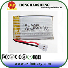 For rc quadcopter helicopter LiPo battery 25c 852540 650mAh 3.7v rc helicopter battery