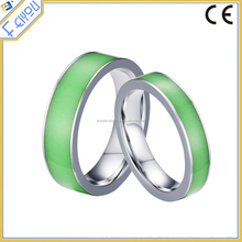 Cool Fluorescent Stainless Steel Rings for Party Jewelry 6mm Wide Rings for Men and Women Jewelry
