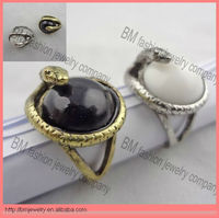 2013 New Arrival Vintage Exaggerate Style Silver/Bronze Alloy Gemstone Snake Ring Fashion Ring Jewelry